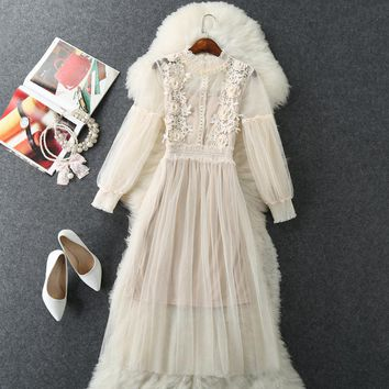 2018 Plus Size Long Dress Rushed Solid Lantern Sleeve Lace Mid-calf Empire Ruffled Spring Mesh Polyester Robe Dress Two-piece