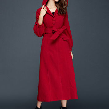 Red Thick Hooded Wool Belted Coat