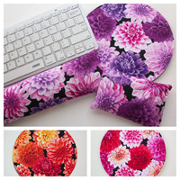 Dahlias flowers Keyboard rest and / or WRIST REST for MousePads  -  mouse pad set coworker gift under 50 graduation gift