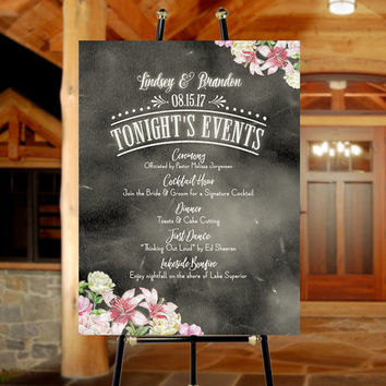 Wedding Program Poster | Peach, Pink, White Floral Design with Names of Bride & Groom - Personalize all Text to Suit Your Event Schedule