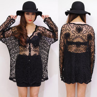 Vintage BOHO Black Sheer See Through LACE Floral Squiggle Applique Cardigan Top
