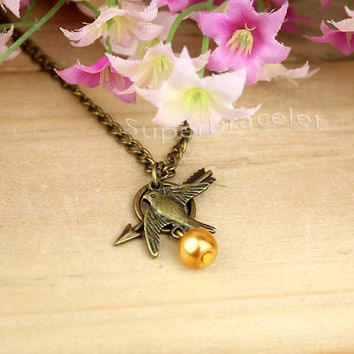 Wish necklace - a bronze necklace - chic bird necklace - golden pearl necklace - friendship gift for girlfriend and BFF