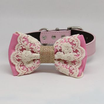 Pink Dog Bow Tie collar, Lace and Burlap, Handmade dog collar, Pink Lace bow tie