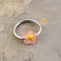 Light Pink Daisy Flower Cartilage Hoop Earring or Belly Button Ring