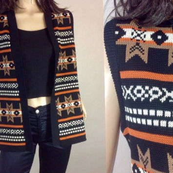Aztec Tribal Vest  Fall Color Sleeveless Sweater Vintage 70s Western Southwestern Vest Outdorr Woman graphic Print small 35 bust