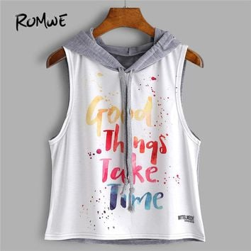 ROMWE Color Block Letter Print Sleeveless Hooded Top 2018 New Summer Letter Crop Woman Top Drawstring Preppy Tank