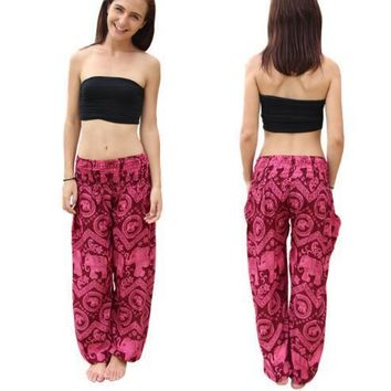 Rose Thai Elephant Harem Hippy Yoga Pants