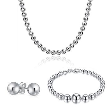 White Gold Plated Pearl Necklace, Bracelet & Earrings Set