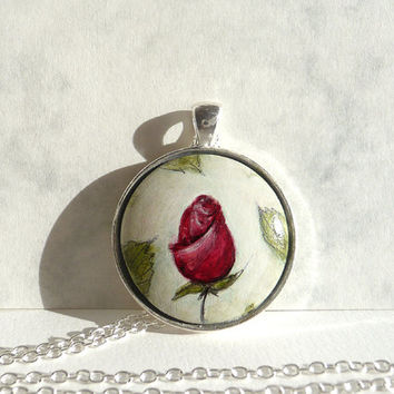 Elegant Rose Charm, Rose Necklace, Red Rose Pendant, Small Painting Rose Jewelry, Hand Painted Pendant Tray, Bezel Necklace, Floral Design