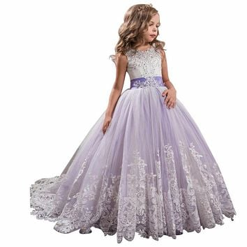 ZYLLGF Bridal 2017 Ball Gown Luxury Beaded Girls Pageant Dresses Size 14 Tulle Flower Girl Dresses Lilac With Appliques FP26