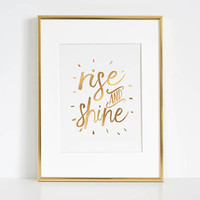 RISE AND SHINE Sign, Bedroom Decor,Home Decor,Living Room Decor,Motivational Quote,Rise And Grind,Quote Prints,Quote Prints,Inspirational