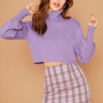 Turtleneck Cropped Pullover Sweater