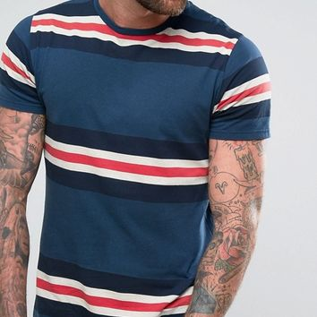 Pull&Bear T-Shirt With Panel Stripes In Blue at asos.com
