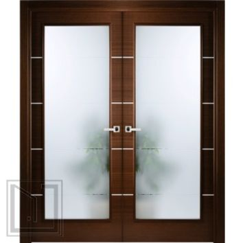 Italian Wenge Interior Double Door w Frosted Glass Decorative Strips