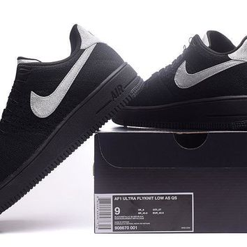 LMFON Nike Air Force 1 Flyknit Af1 Black For Women Men Running Sport Casual Shoes Sneakers