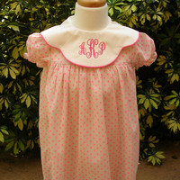 Girl Toddler Sundress, Monogrammed Dress for girls polka dots FREE Monogram from sz 3m,6m,12m,2T,3T,4T.