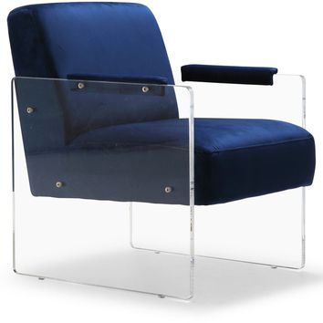 Eva Navy Velvet Accent Chair