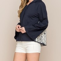 Monoreno Lace Back Zip Up Hoodie - Navy
