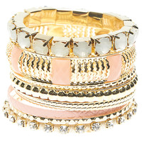 Textured Faceted Bangle Set | Wet Seal