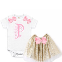 Pink & Gold baby girls Outfit set, Monogrammed Onesuit for girls, gold sequin tutu, pink and gold birthday outfit