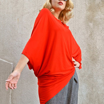 Red Top / Red Viscose Top / Kimono Top / Asymmetrical Loose Top / Red Extravagant Top / Kimono Sleeve Top  / FALL2015