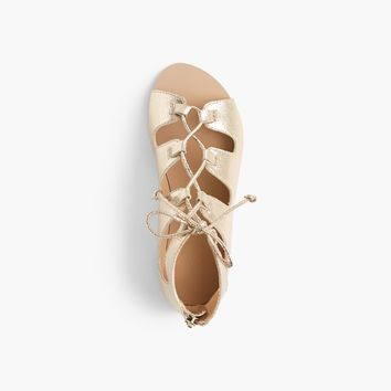Girls' metallic leather gladiator sandals : Girl flip-flops & sandals | J.Crew
