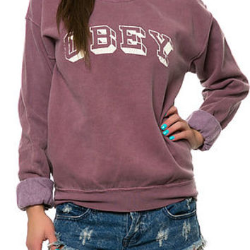 The Obey University Sweatshirt in Dusty Oxblood