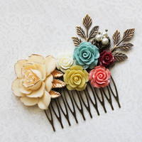 Bridal Hair Comb Rustic Floral Bridal Hair Piece Aqua Teal Rose Country Wedding Romantic Coral Mustard Rustic Flower Hairpiece Cream Ivory