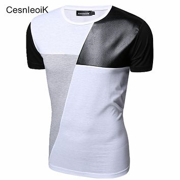 Leather T Shirt Men High Quality Splice short Sleeve