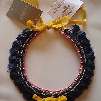 NWT Anthropologie Navy Tassel Necklace - Retailed $588 - By Akong London