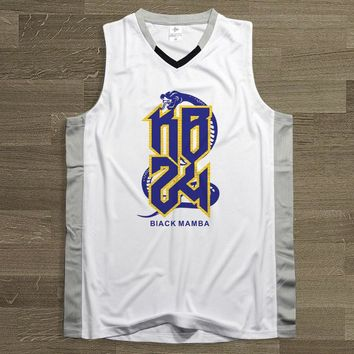 BONJEAN 24 Kobe Bryant Printing Basketball Jersey Top Quality Uniforms Sports Sets White Breathable Training Shirts Shorts