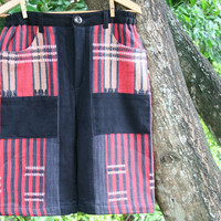 Ethnic Naga Mens Shorts In Red And Black Hand Woven Tribal Patterns And Natural Cotton - Luke