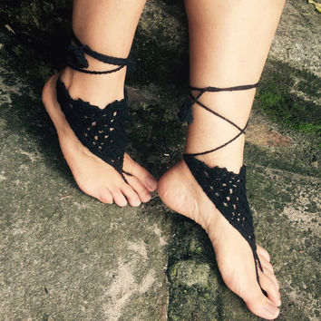SALE ! Black barefoot sandals crochet barefoot foot jewellery beach summer accessory