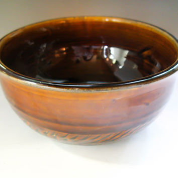 Amber Pottery Bowl, Ceramic Bowl, Cereal Bowl, Salad Bowl, Ice Cream Bowl or Soup Bowl