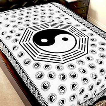 "TAPESTRY - YING YANG - 72""X108"" - COTTON - YIN YAN HUGE"