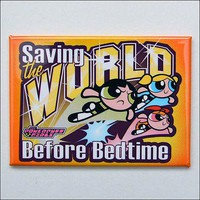 Powerpuff Girls Saving the World Heavy-Duty Fridge Locker Magnet LICENSED NEW