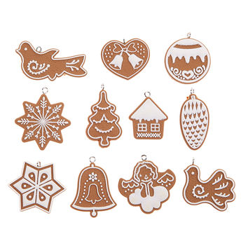 11 PCS Cartoon Animal Snowflake Biscuits Hanging Christmas Tree Ornament Hand Made Polymer Clay Christmas Decorations