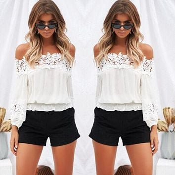 Womens Off The Shoulder Blouse Summer Loose Shirt Tops