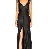 Redemption Gown with Covered Buttons in Black | FWRD