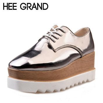 HEE GRAND 2017 Creepers Platform Casual Shoes Woman Lace-Up Oxfords Spring Flats Fashi