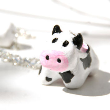 Cute Cow Necklace, Handmade from Polymer Clay