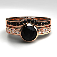 Black diamond engagement ring set, rose gold ring, diamond wedding, bezel, curved eternity ring, gothic engagement, black  solitaire ring