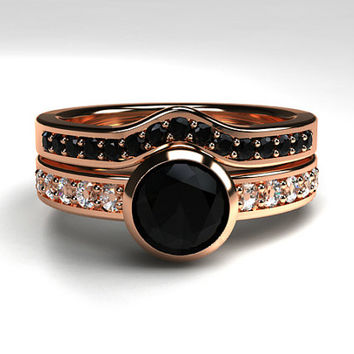 Shop Black Diamond Gothic Wedding Rings on Wanelo