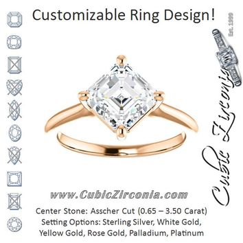 Cubic Zirconia Engagement Ring- The Adora (Customizable Asscher Cut Solitaire with Raised Prong Basket)