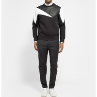 Neil Barrett - Panelled Grained-Leather and Bonded-Jersey Sweatshirt | MR PORTER