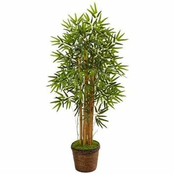4.5 Bamboo Tree in Coiled Rope Planter Silk