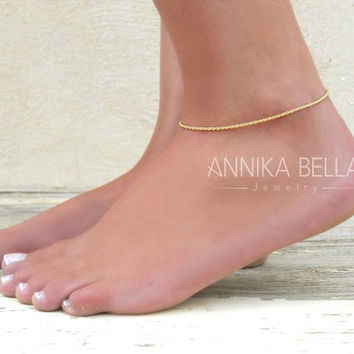 Gold Chain Anklet, Gold Filled Rope Chain Anklet, Dainty Gold Anklet, Delicate Ankle Bracelet, Layering Anklet, Gold Foot Jewelry.