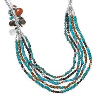 "23""+2"" Multistrand Turquoise and Multibead Necklace .925 Sterling Silver"