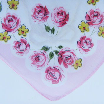 Vintage Handkerchief Printed Red And Pink Roses Yellow White Daises Green Leaves White Center Background Pink Edge 11 3/4 X 11 1/2 Inches