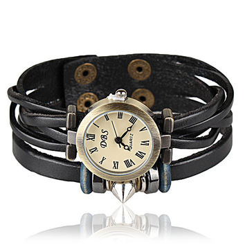 Vintage Style Wrist Watch Leather Bracelet Wrap Watch, Handmade Women's Watch, Everyday Bracelet  B46